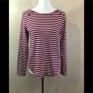 "Loft Sz Medium Red & White Striped Top 3/4"" Sleeve"